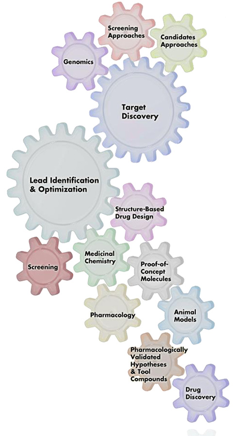 Graphic showing the interlocking gears of endeavor required to advance an experimental therapeutic agent